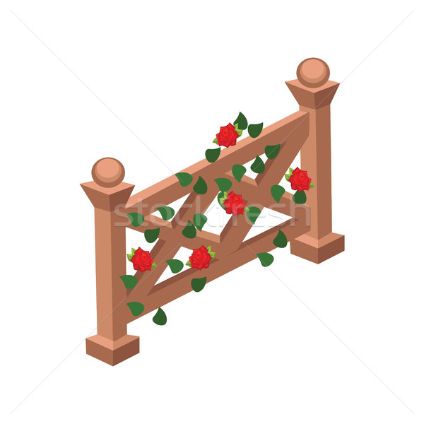 Isometric Cartoon Wooden Fence Gate  Decorated with Red Roses and Green Leaves Stock photo © Loud-Mango