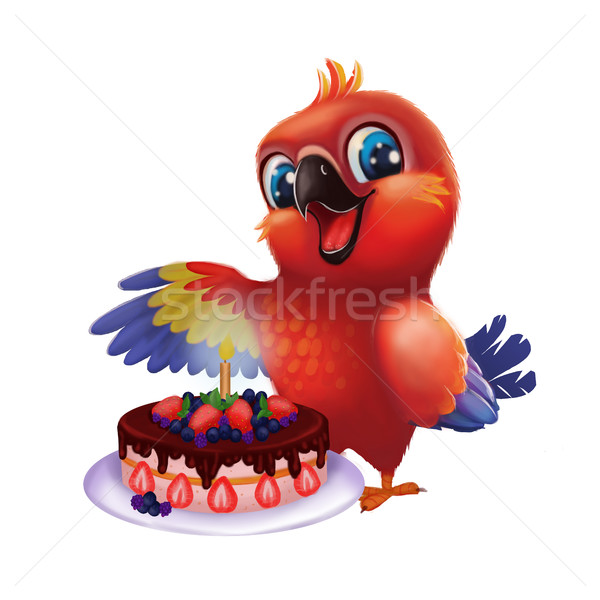 Smiling, Happy Parakeet Parrot Party Cake for Friend - Kids Happy Birthday Stock photo © Loud-Mango