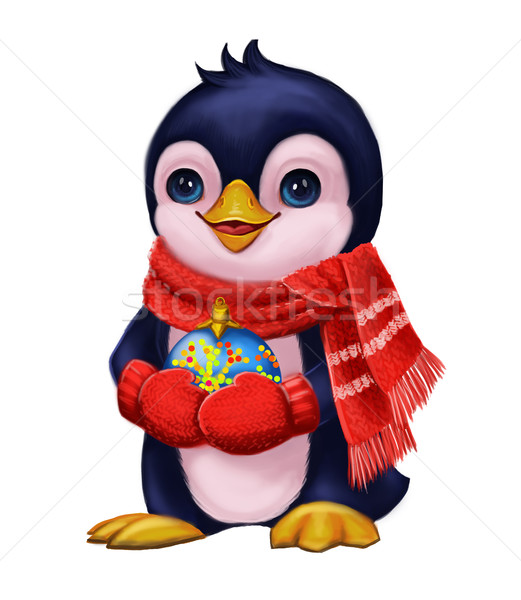Season's Greetings with Penguin Party Toys - Merry Christmas and New Year Stock photo © Loud-Mango