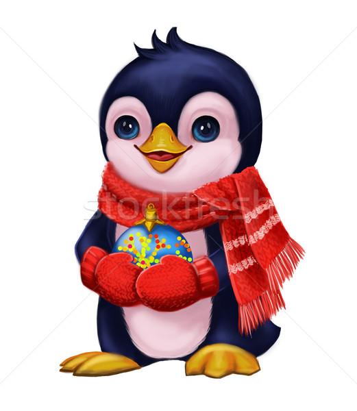 évszakok üdvözlet pingvin buli játékok vidám Stock fotó © Loud-Mango