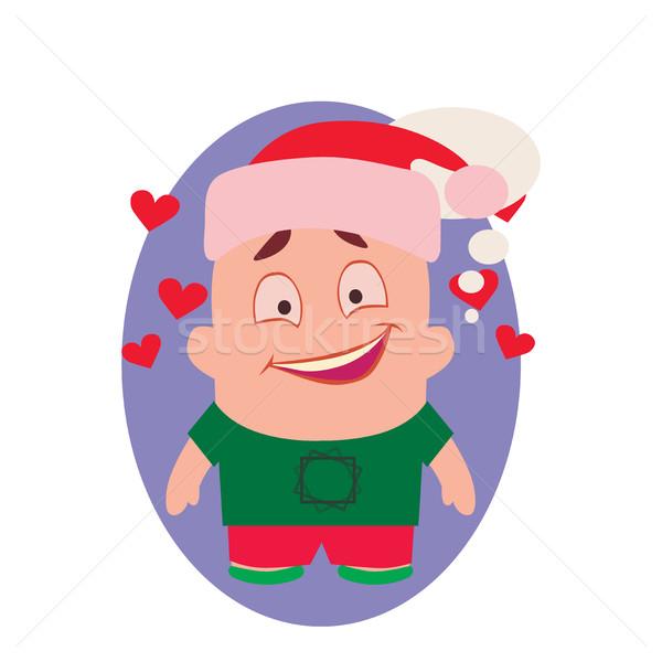Gülen mutlu komik avatar küçük kişi Stok fotoğraf © Loud-Mango