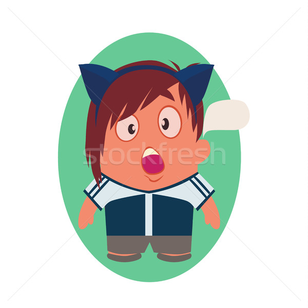 Shocked Avatar of Funny Little Person Cartoon Character in Flat Vector Stock photo © Loud-Mango