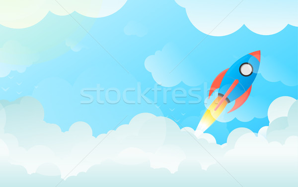 Technology, Business Startup, Innovation Concept Rocket Launch in Flat Vector Stock photo © Loud-Mango