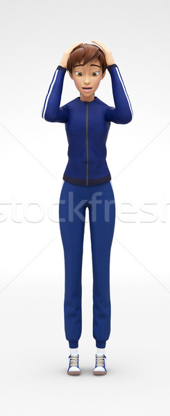 Stock photo: Scared and Discouraged Jenny - 3D Cartoon Female Character Sports Model