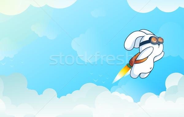 Flying Rocket Rabbit, Progress, Startup Technology, Innovation in Gradient Vetor Stock photo © Loud-Mango