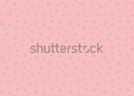 Hand-Drawn Seamless Background with Sweets, Cakes, Candy, Hearts and Lollipops Stock photo © Loud-Mango