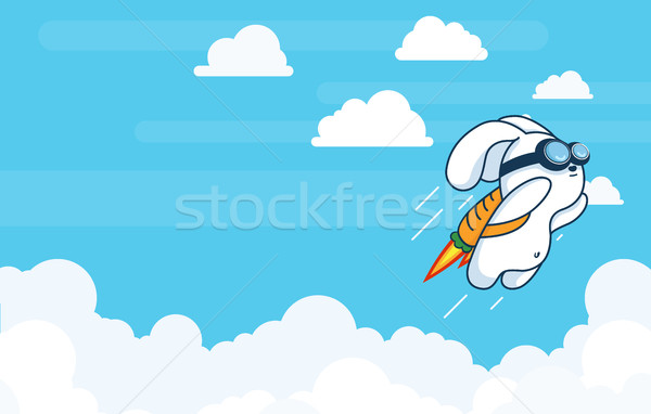 Flying Rocket Rabbit, Progress, Startup Technology, Innovation in Flat Vetor Stock photo © Loud-Mango