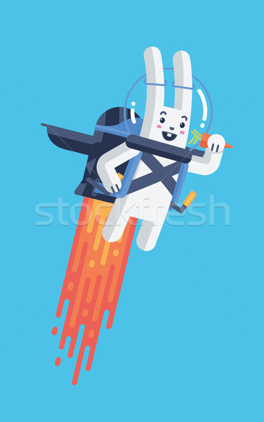 Flying Rocket Jetpack Rabbit Isolated Vector Illustration in Material Design Stock photo © Loud-Mango