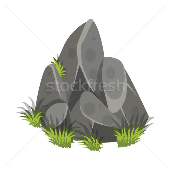 Isometric Cartoon Rock Slab with Grass - Tileset Map Element, Game Object Stock photo © Loud-Mango