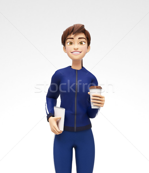 Blank Coffee or Tea Cup Mockup Held by Smiling and Happy 3D Female Character Stock photo © Loud-Mango
