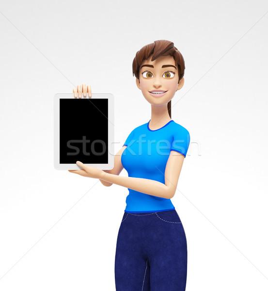 Zdjęcia stock: Tabletka · urządzenie · ekranu · uśmiechnięty · szczęśliwy