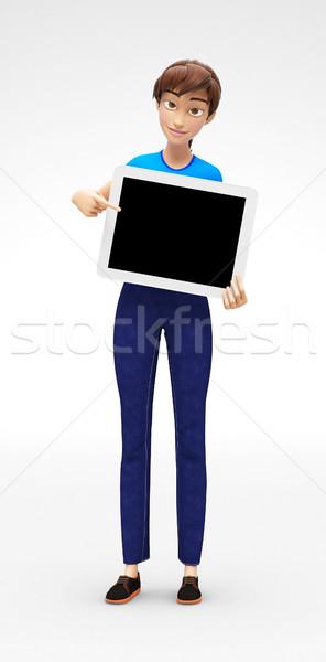 Tablet ekran gülen mutlu Stok fotoğraf © Loud-Mango