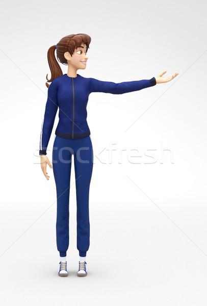 笑みを浮かべて 成功した 3D 漫画 女性 文字 ストックフォト © Loud-Mango