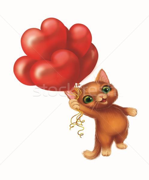 Sevimli gülen kedi yavrusu sevmek uçan balonlar Stok fotoğraf © Loud-Mango