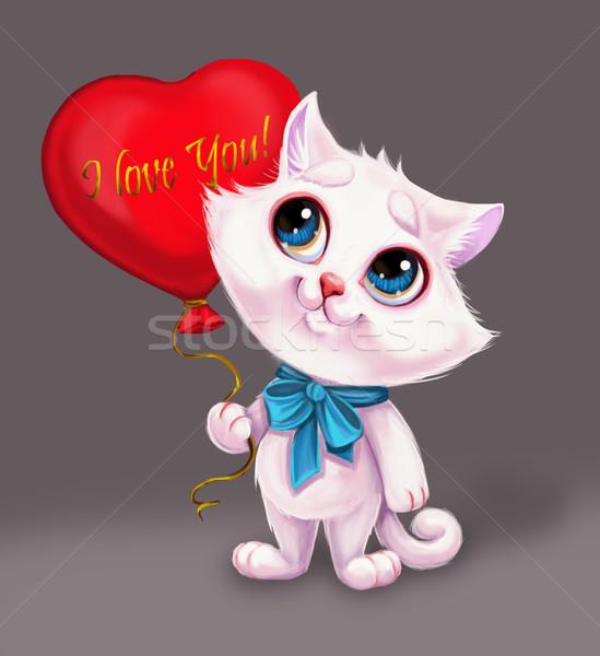 Gülen beyaz kedi yavrusu kalp balon sevmek Stok fotoğraf © Loud-Mango