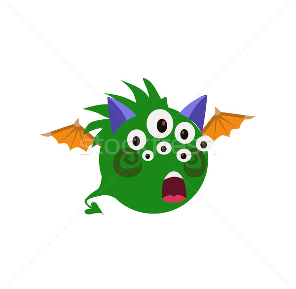 Scary Cool Monster Avatar - Animated Cartoon Character in Flat Vector Stock photo © Loud-Mango