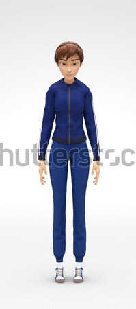 Tired and Drowsy, Sleepy Jenny - 3D Character - Falls Asleep While Standing Stock photo © Loud-Mango