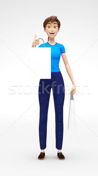 Torbę na zakupy uśmiechnięty szczęśliwy 3D charakter Zdjęcia stock © Loud-Mango