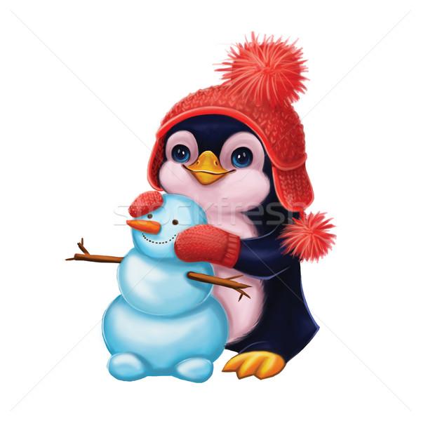 Pory roku uśmiechnięty Pingwin wesoły christmas Zdjęcia stock © Loud-Mango
