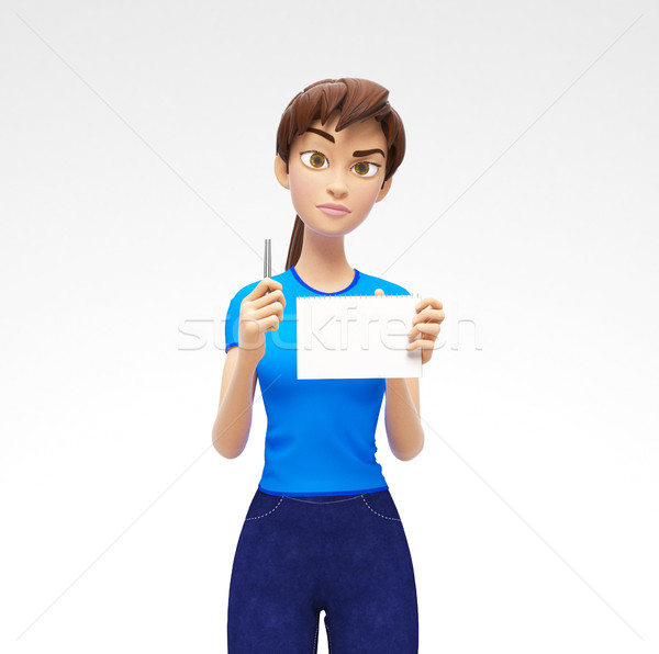 Blank Paper Notepad and Pencil Mockups Held by Serious, Pleasant 3D Character Stock photo © Loud-Mango
