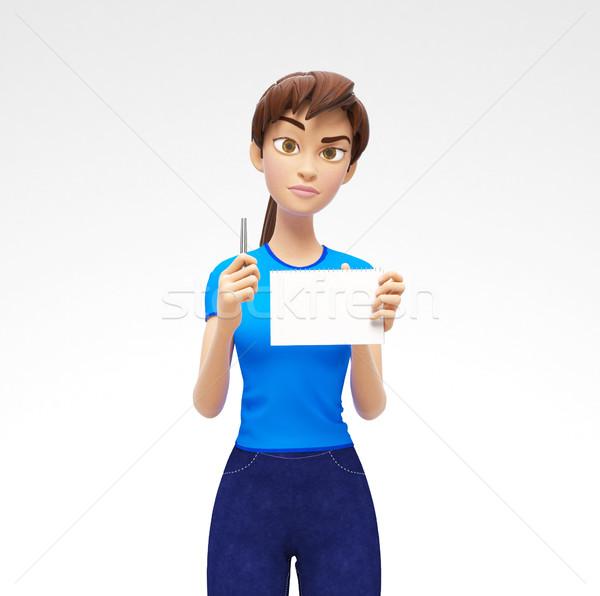 üres papír jegyzettömb toll komoly kellemes 3D Stock fotó © Loud-Mango