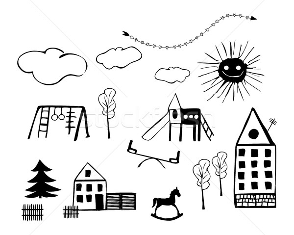 Kids Drawings of Child Playgrounds, Houses, Trees, Clouds and Toys Stock photo © Loud-Mango