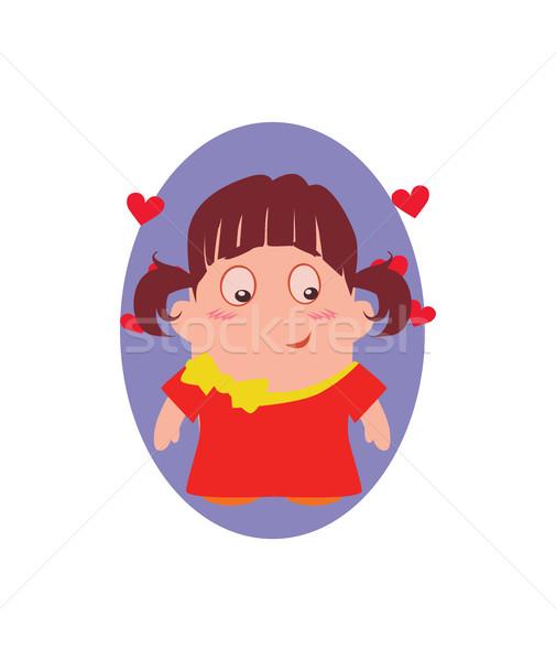 Mosolyog vicces avatar kicsi szépség rajzfilmfigura Stock fotó © Loud-Mango