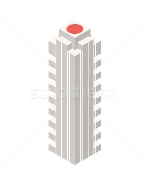 Izometrikus felhőkarcoló épület tárgy ikon háló Stock fotó © Loud-Mango