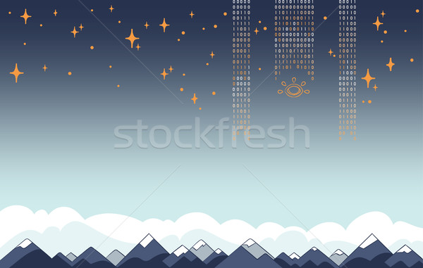 Background with Copyspace of Digital Data Flows over Mountains in Flat Vector Stock photo © Loud-Mango
