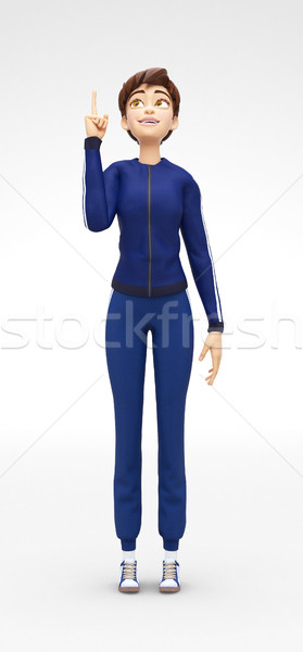 Smiling, Curious and Delighted Jenny - 3D Cartoon Female Character Sports Model Stock photo © Loud-Mango