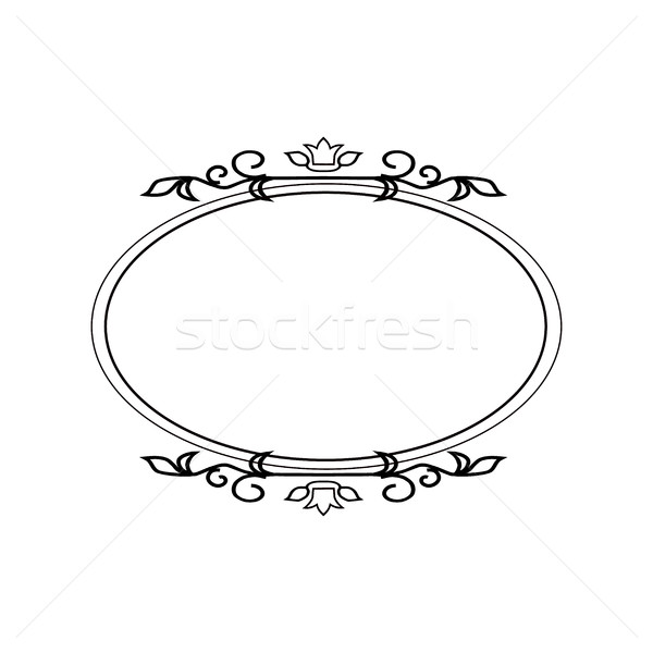 Vintage Calligraphic Frame - Round Decorative Floral Element with Flourishes Stock photo © Loud-Mango