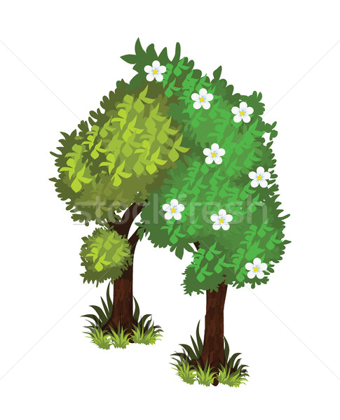 Isometric Cartoon Bushy Green Trees Web Element, Tileset Map, Landscape Design Stock photo © Loud-Mango