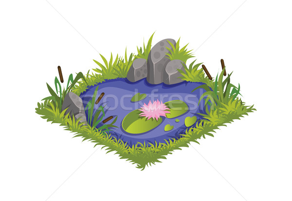 Isometric Cartoon Water Pond with Wild Reeds and Lilies, Element for Tileset Map Stock photo © Loud-Mango