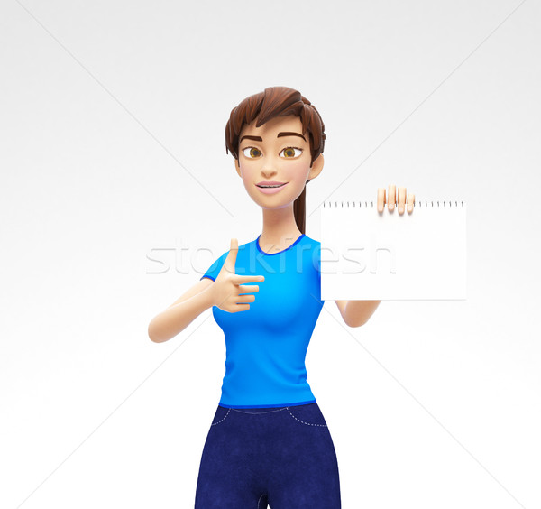 Blank Paper Notepad Mockup Held by Smiling and Happy 3D Character Stock photo © Loud-Mango