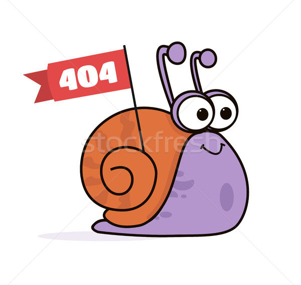 Animated Cartoon Funny Smiling Lazy Snail Logo - Character with Flag Poster Stock photo © Loud-Mango