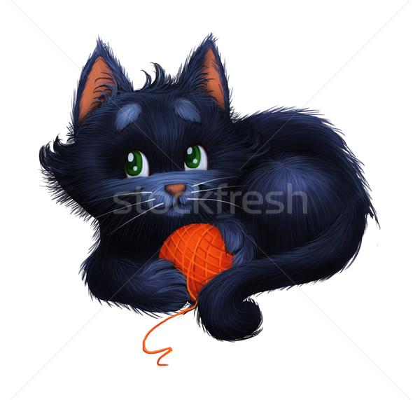 Cute mały szczęśliwy kotek Zdjęcia stock © Loud-Mango