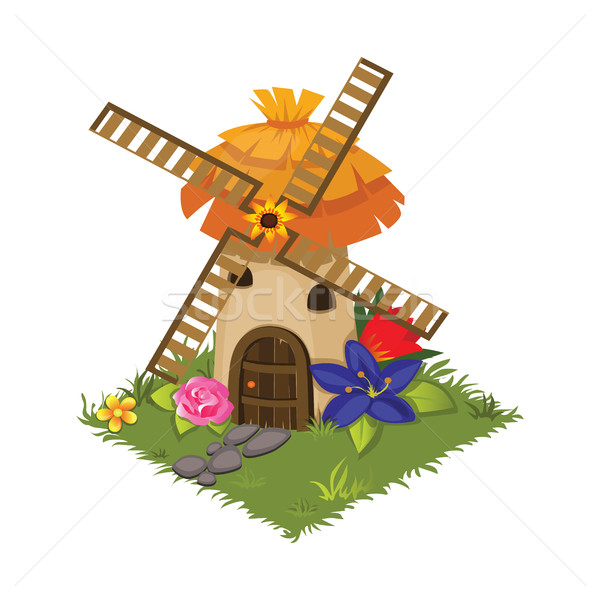 Isometric Cartoon Village Grinder Mill with Flowers - Tileset Map Element, Game Stock photo © Loud-Mango