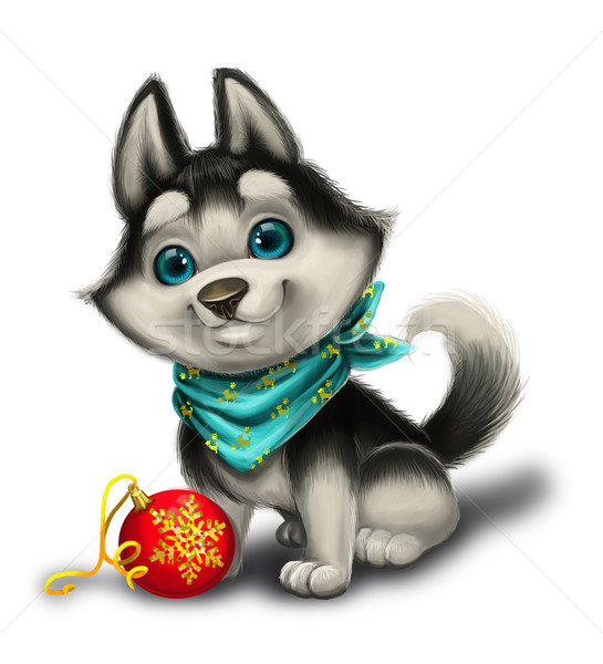 Season's Greetings with Cute Husky Puppy - Merry Christmas and Happy New Year Stock photo © Loud-Mango