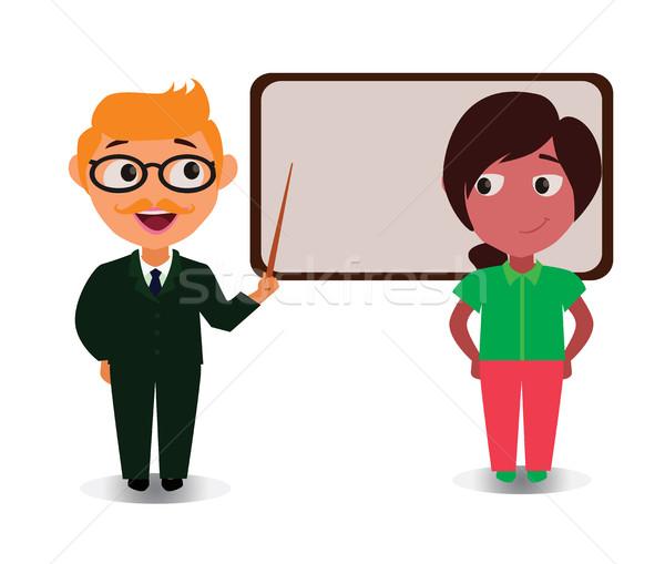 öğretim ders mutlu karikatür Stok fotoğraf © Loud-Mango