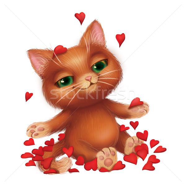 Cute uśmiechnięty kotek miłości czerwona róża płatki Zdjęcia stock © Loud-Mango