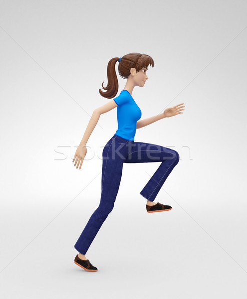 Ambitious, Athletic and Confident Jenny - 3D Character - in Pursuit Climbs Up Stock photo © Loud-Mango