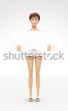 Blank Product Poster and Banner Mockup - Smiling and Happy 3D Bikini Character Stock photo © Loud-Mango