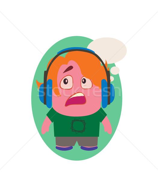 Zmartwiony geek funny avatar mały osoby Zdjęcia stock © Loud-Mango