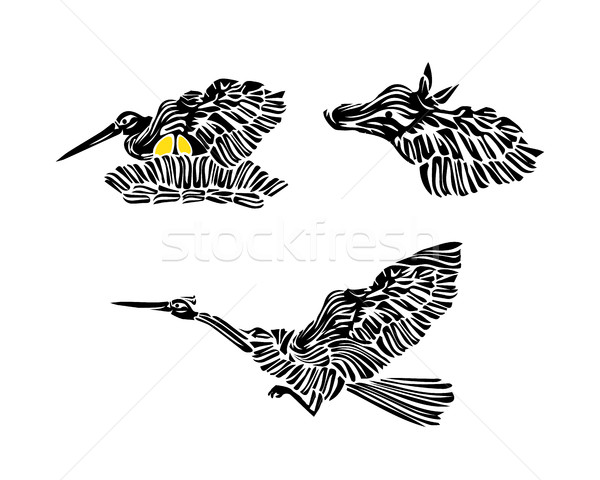 Stylized Stork Silhouette With Eggs, Bird and Horse - Cartoon Vector Icon Set Stock photo © Loud-Mango