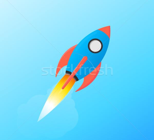 Pływające przestrzeni rakietowe odizolowany ilustracja Zdjęcia stock © Loud-Mango