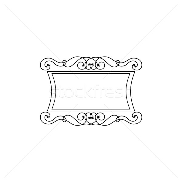 Decorative Black Flower Border Stock Image: Vintage Calligraphic Square Frame Decorative Floral Border