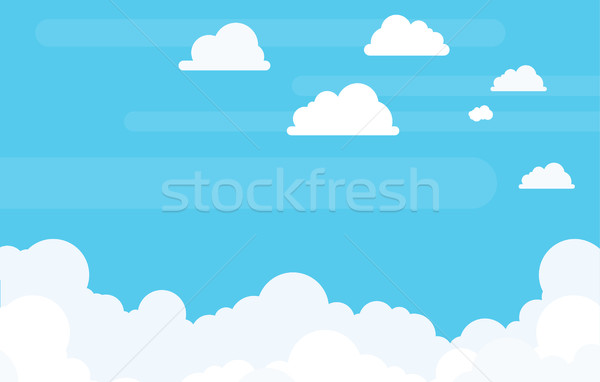 Background of Sky and Clouds in Flat Vector Copyspace Stock photo © Loud-Mango