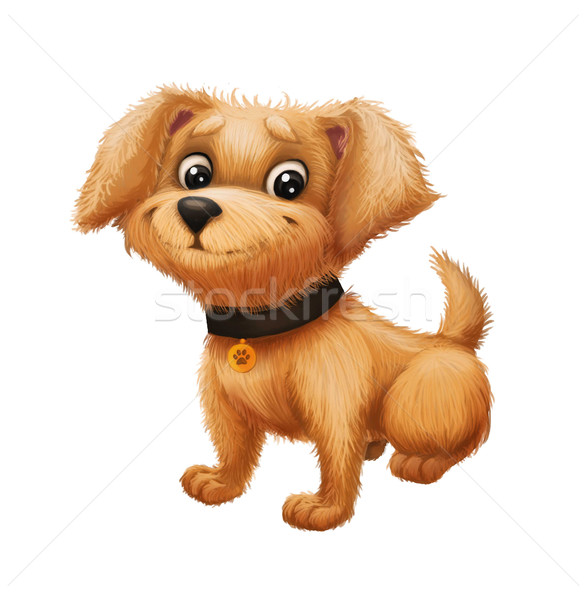 Cute Happy Little Furry Puppy Smiling - Cartoon Animal Character Mascot Sitting Stock photo © Loud-Mango