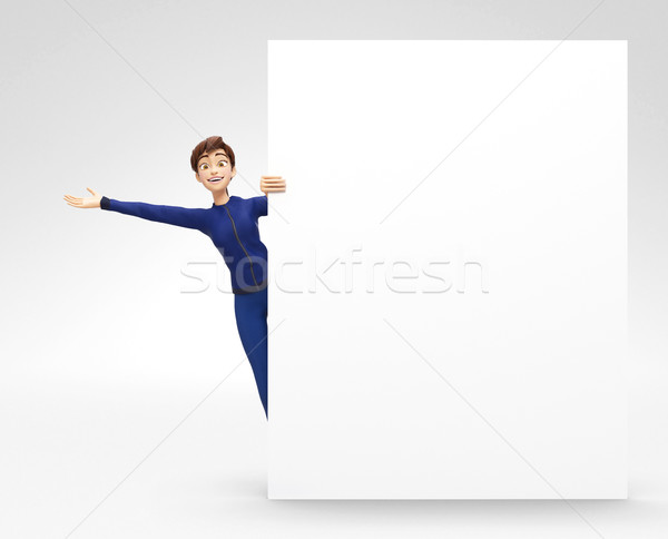 Blank Product Billboard and Banner Mockup Announced by Smiling and Happy Jenny Stock photo © Loud-Mango