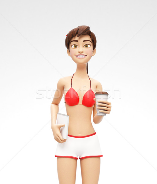 Blank Coffee or Tea Cup Mockup - Smiling and Happy 3D Bikini Character Stock photo © Loud-Mango